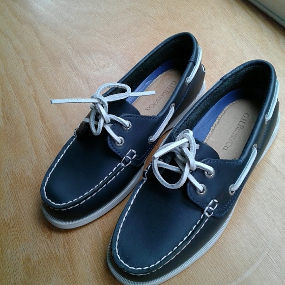 Bass Boat Shoes Navy Blue Leather White